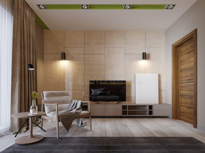 Soporte moderno de la TV con los estantes y una TV encima en la pared del color beige del panenley brillante Dormitorio con una b stock de ilustración