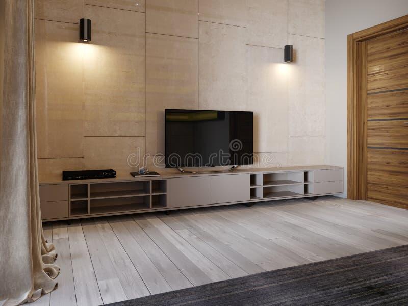 Soporte moderno de la TV con los estantes y una TV encima en la pared del color beige del panenley brillante Dormitorio con una b libre illustration