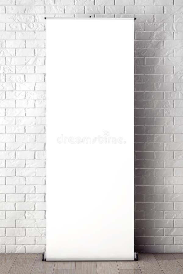 Soporte rodado de la promoción de la bandera delante de la pared de ladrillo con el espacio en blanco imagenes de archivo