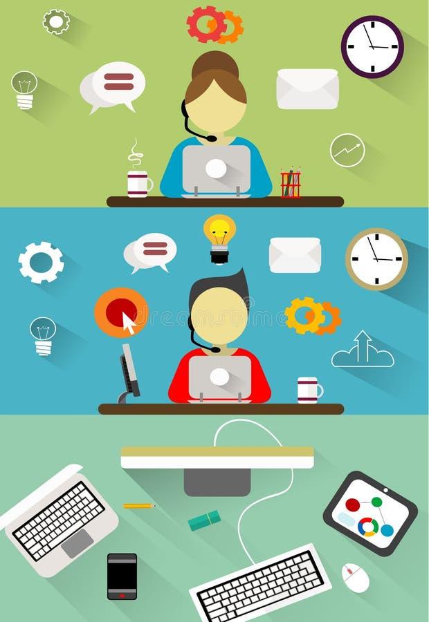 Soporte técnico, conceptos del ejemplo del plano de servicio de atención al cliente fijados libre illustration