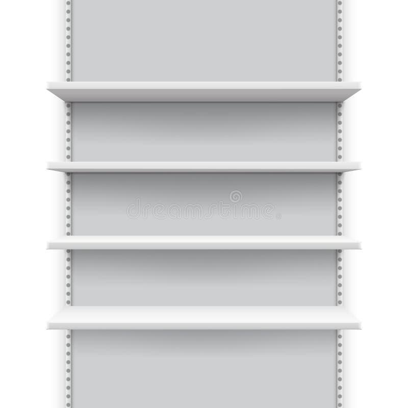 Soporte vacío con los estantes para los productos, maqueta de la venta al por menor del mercado del vector de la exhibición de la libre illustration