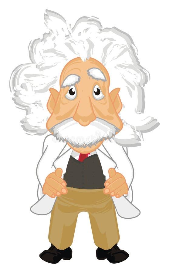Soporte y mirada de Albert Einstein ilustración del vector