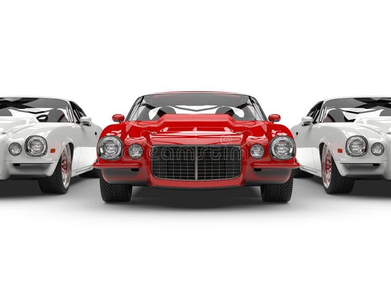 Soportes automotrices americanos del vintage hermoso rojo brillante fuera de la línea de coches blancos libre illustration