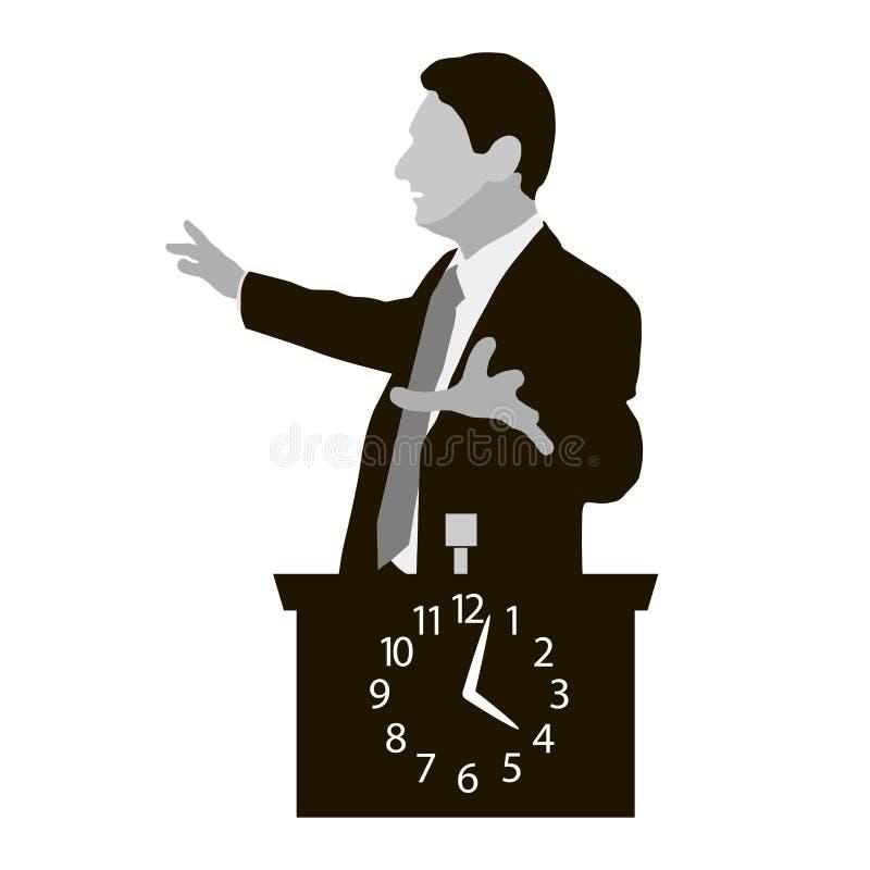 Soportes de altavoz detrás de un podio con el reloj stock de ilustración