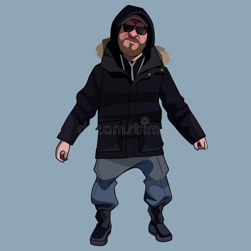 Soportes del hombre de la historieta vestidos en ropa y gafas de sol del invierno ilustración del vector
