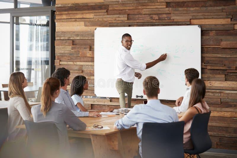 Soportes jovenes del hombre negro en el whiteboard que se dirige al equipo en la reunión fotos de archivo libres de regalías