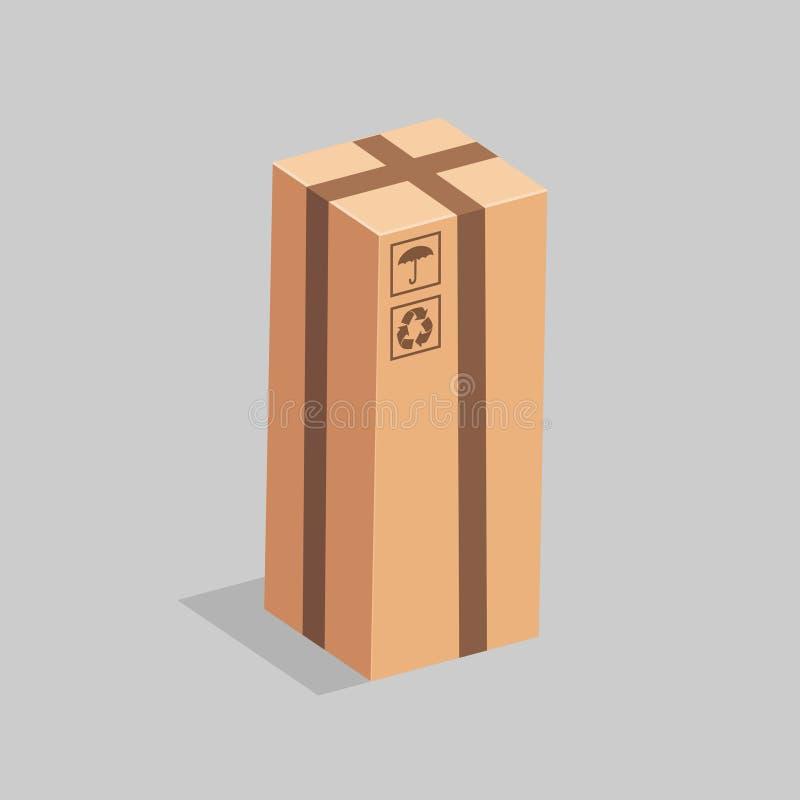 Soportes largos, cerrados de la caja del ardboard en un fondo gris Vector stock de ilustración