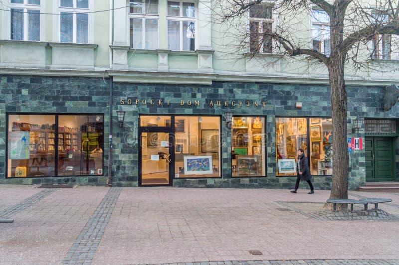 Sopot Auction House Polnisch: Sopocki dom aukcyjny lizenzfreie stockbilder
