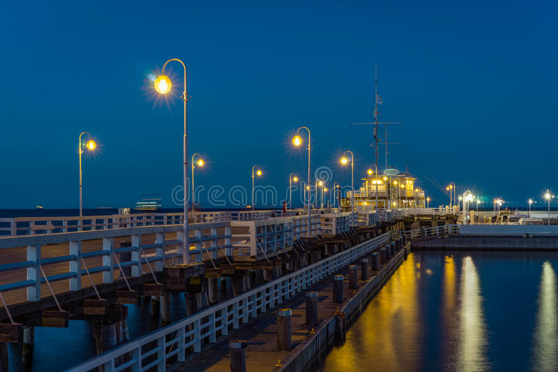 Sopot Pier in the evening. Beautiful evening at Sopot Pier, Pomeranian, Poland royalty free stock images