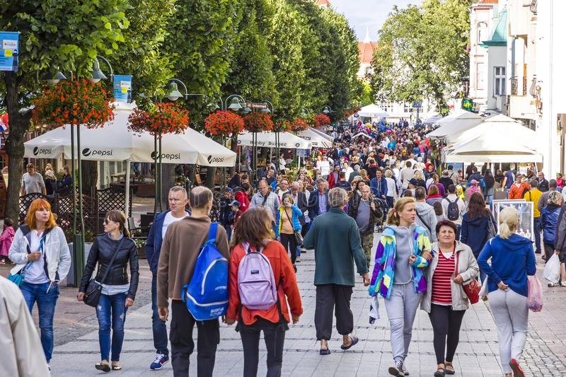 People walking on Heroes of Monte Cassino Street in Sopot, Poland royalty free stock photo
