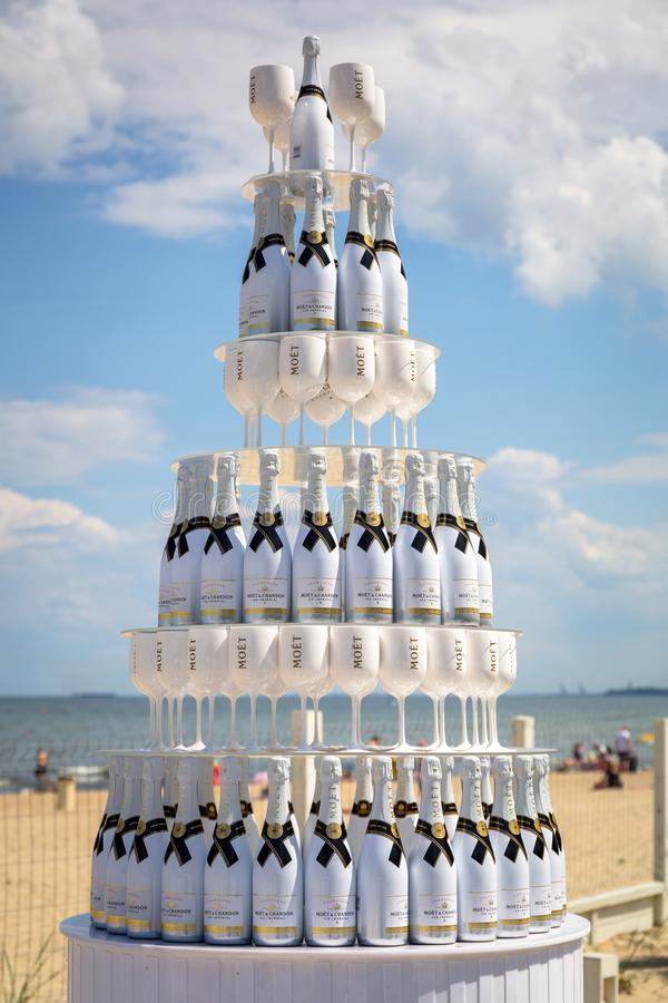 Sopot, Poland - June 19, 2019: Bottles of white  Moet champagne displayed on the beach of Sopot, Poland stock image