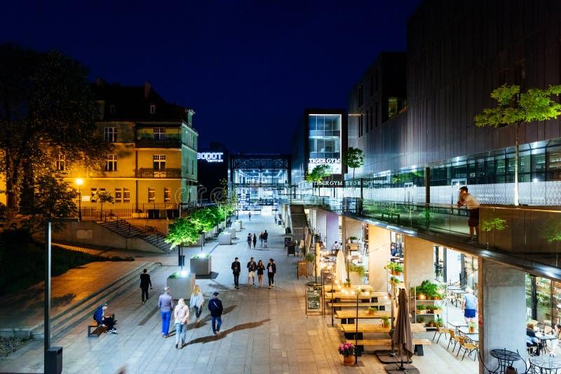 Sopot, Poland. Sopot, Poland - May 13, 2018: Sopot Train Station and shopping street at night royalty free stock images