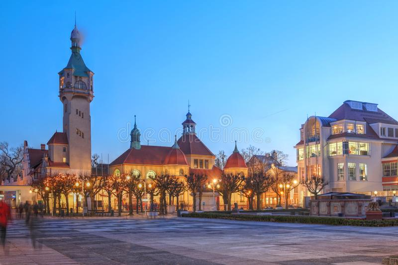 Sopot, Poland. Night scene in the resort town Sopot, Poland, featuring the lighthouse tower in winter royalty free stock photography
