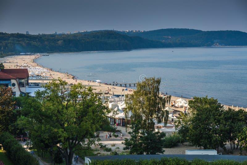 Sopot,Poland-September 7,2016: Baltic sea beach landscape in Sop royalty free stock image