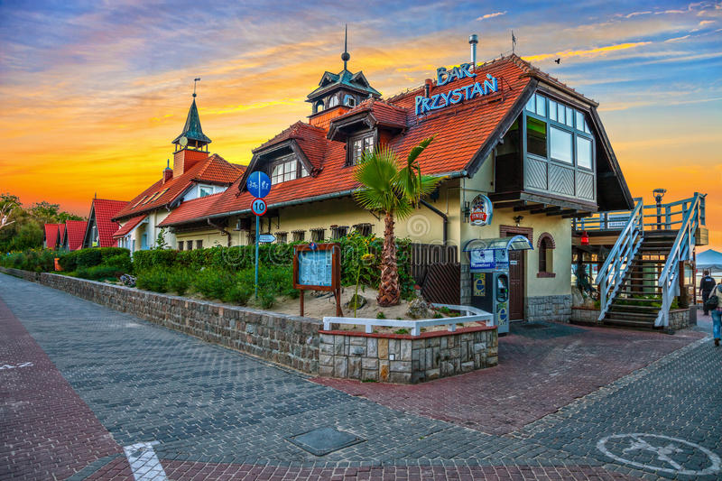Sopot - Restaurant at sunset. One of the many bars on the very popular coastal walking route between Gdansk and Sopot, Poland stock photography