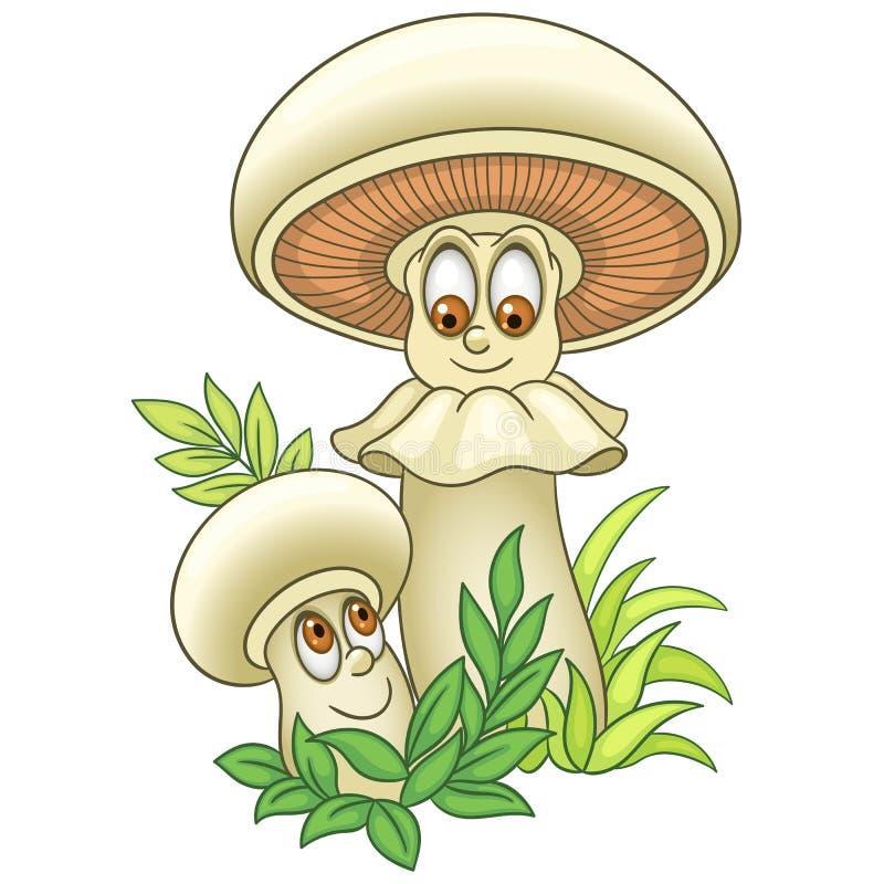 Sopp för Shiitake för tecknad filmchampinjonChampignon stock illustrationer