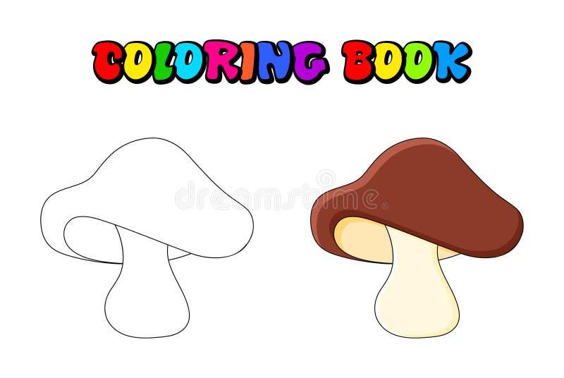 Sopp plocka svamp färgläggningboken som isoleras på vit bakgrund stock illustrationer