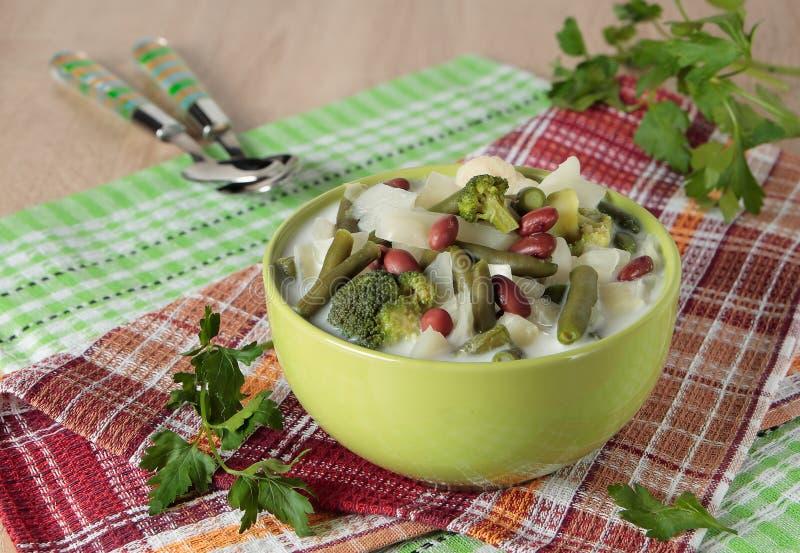 Soppa av kål, broccoli, blomkålen, bönor och kräm arkivfoton