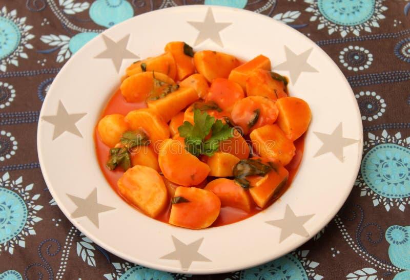 Soppa av tomater och morötter royaltyfria foton