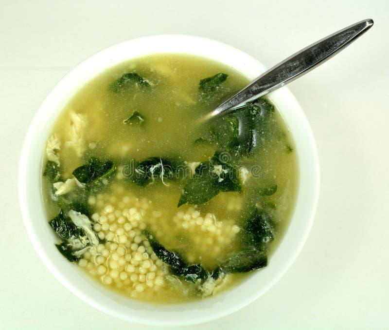 Soppa för spenatäggdroppe royaltyfria bilder