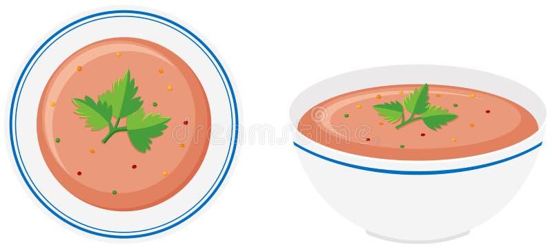 Soppa i bunke främre och sidosikt royaltyfri illustrationer