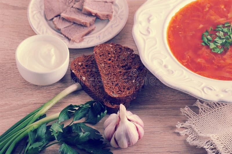 Soppa i en bunke med dill, gräddfil, nötkött och svart bröd på wo arkivbild