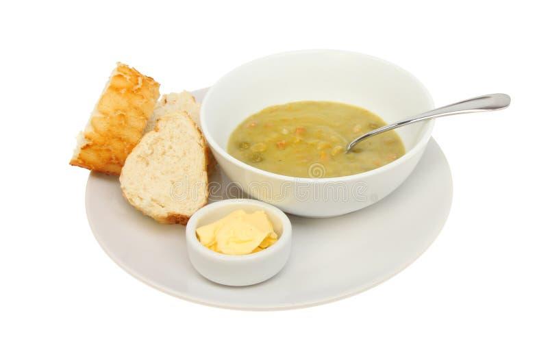 Soppa och bröd arkivbilder