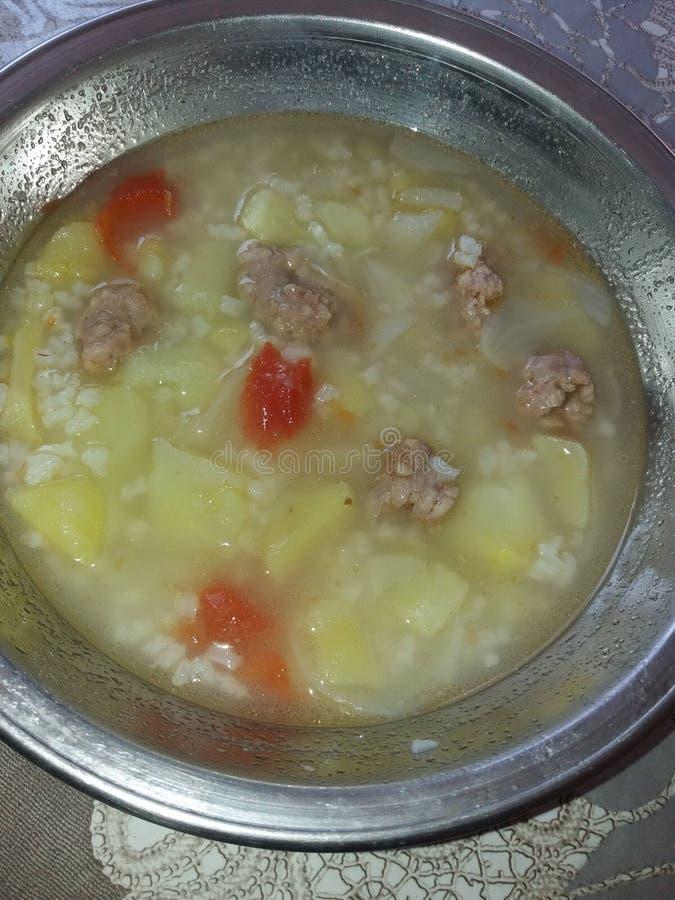 Soppa som gör med kött och potatisar och ris royaltyfri bild