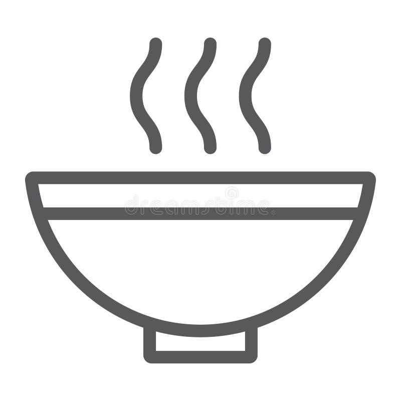 Soppalinje symbol, mat och mål, varmt tecken för soppabunke, vektordiagram, en linjär modell på en vit bakgrund stock illustrationer