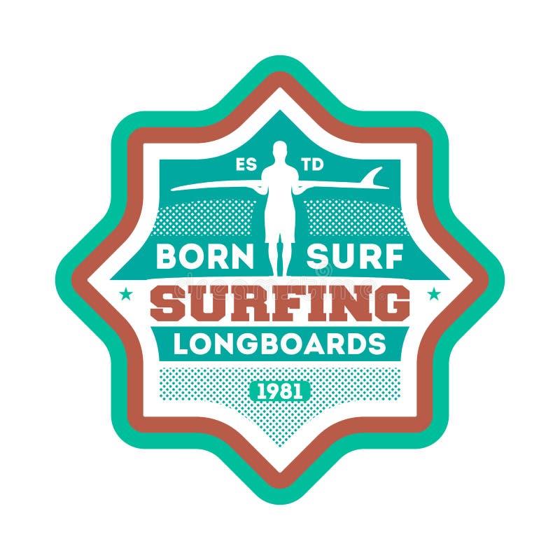 Sopportato praticare il surfing etichetta isolata annata illustrazione vettoriale