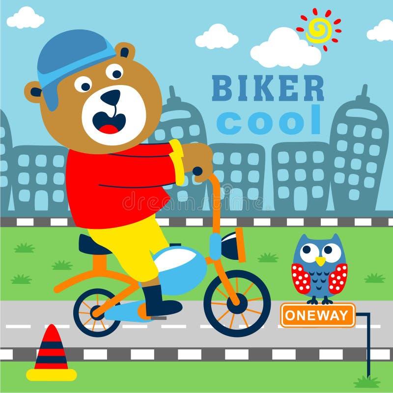 Sopporti il fumetto divertente del motociclista, illustrazione di vettore immagini stock