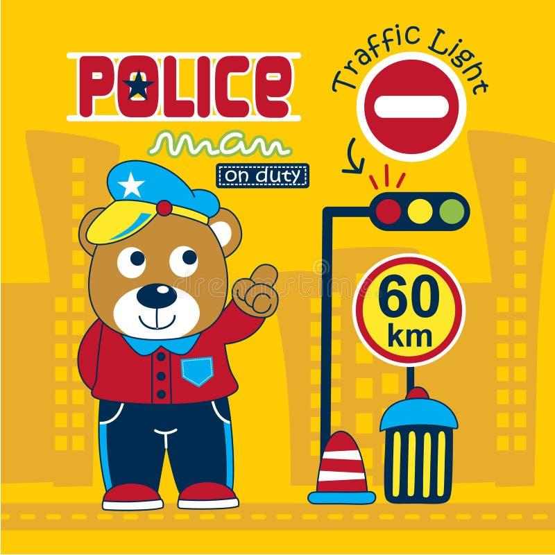 Sopporti il fumetto divertente della polizia, illustrazione di vettore immagine stock libera da diritti