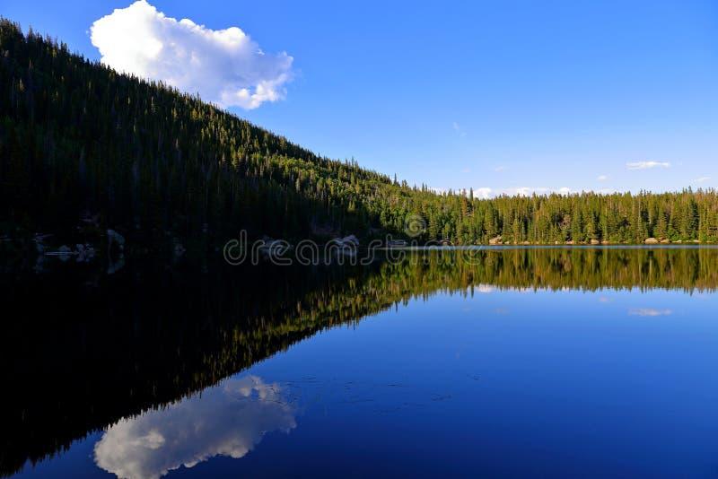 Sopporti il lago e la riflessione con le montagne, Rocky Mountain National Park in Colorado, immagini stock