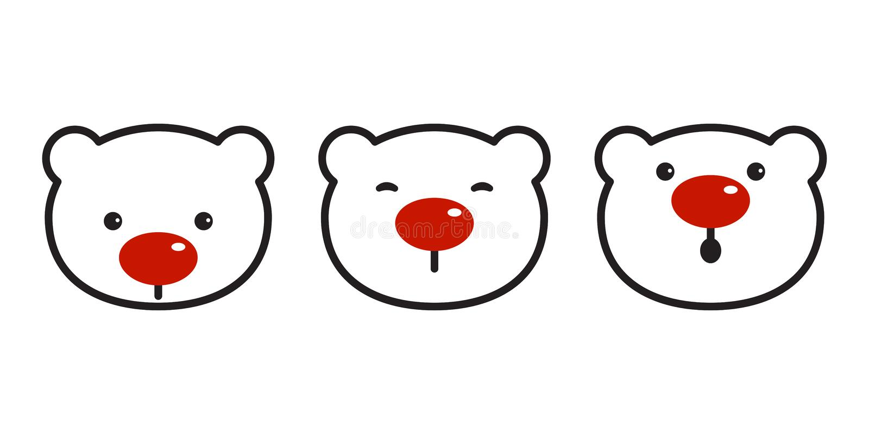 Sopporti l'illustrazione rossa del fumetto di simbolo del naso di logo dell'icona di natale dell'orso polare di vettore royalty illustrazione gratis