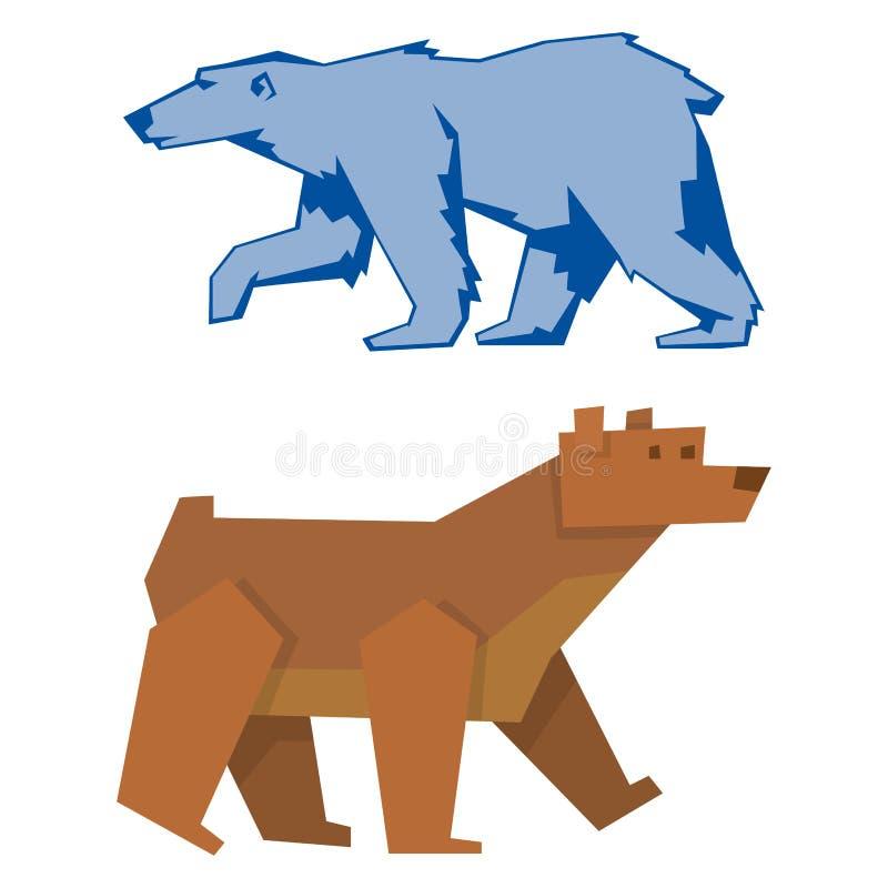 Sopporti l'illustrazione sveglia predatore del carattere di vettore del mammifero dell'orsacchiotto del fumetto felice divertente illustrazione di stock