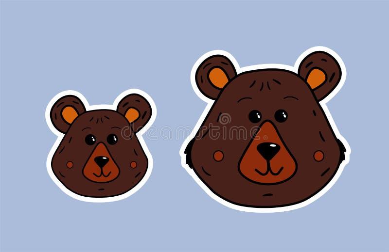 Sopporti la famiglia Orso di mamma e piccolo orso Fronte sveglio di vettore nel contorno bianco Illustrazione del fumetto della m illustrazione vettoriale