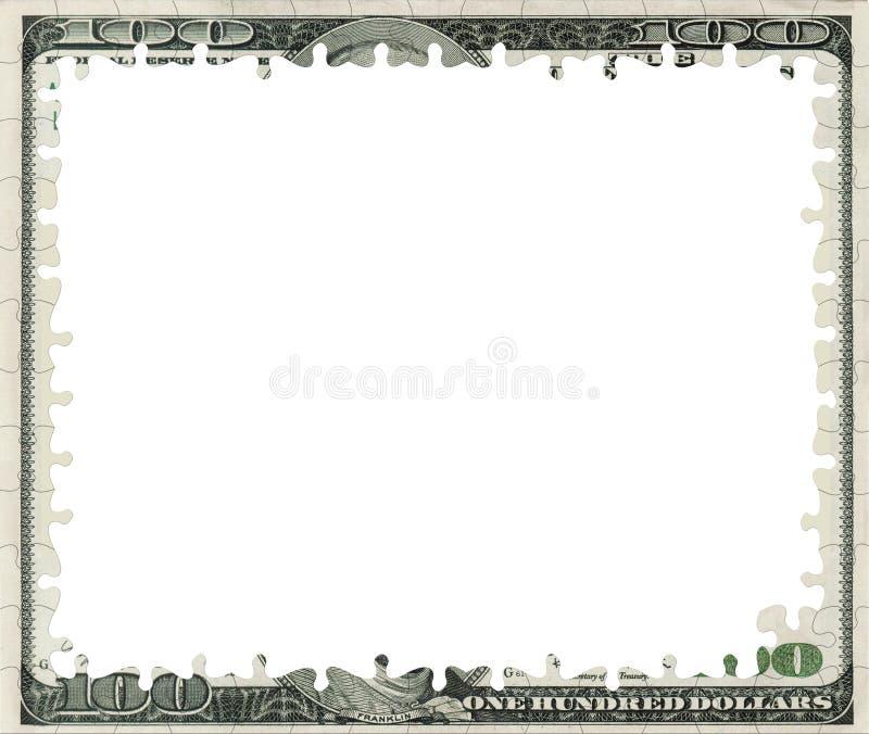 Soppressione 100 dollari della banconota di blocco per grafici di puzzle illustrazione vettoriale