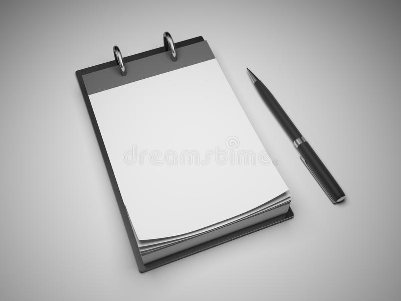 Soppressione il blocchetto per appunti con la penna illustrazione di stock