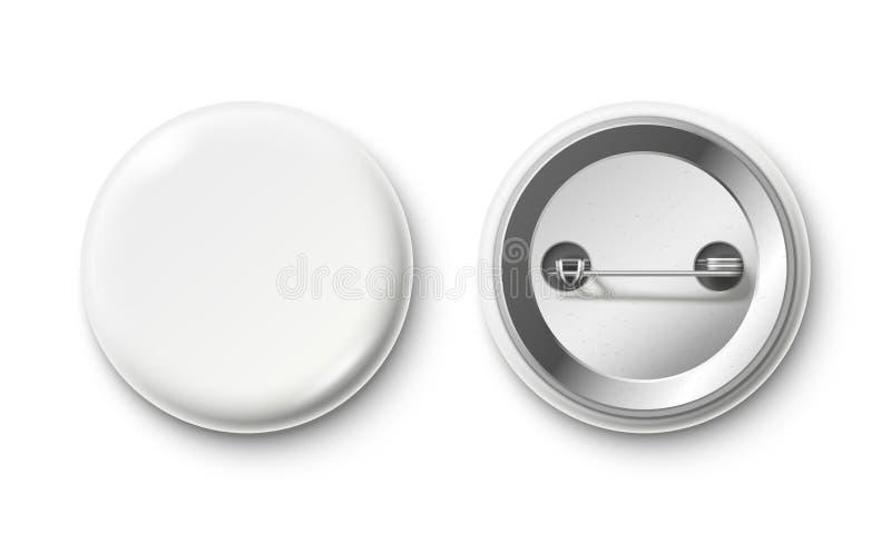 Soppressione il distintivo del bottone Distintivi bianchi del pinback, bottone del perno e modello isolato realistico posteriore  illustrazione di stock