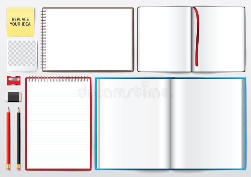 Soppressione il libro aperto Libro in bianco con la matita Blocco per grafici della foto illustrazione vettoriale
