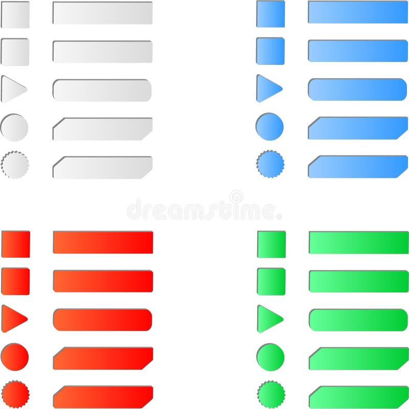 Soppressione l'insieme colorato del bottone di web di Internet illustrazione di stock