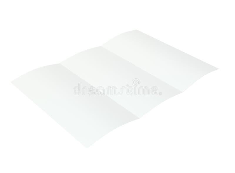 Soppressione l'opuscolo piegato rappresentazione 3d sulla priorità bassa bianca fotografia stock