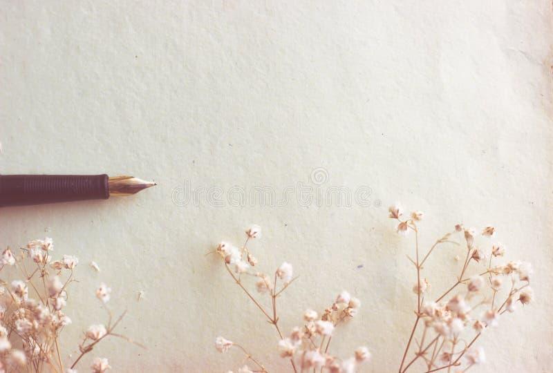 Soppressione la carta e la penna stilografica invecchiate immagine stock
