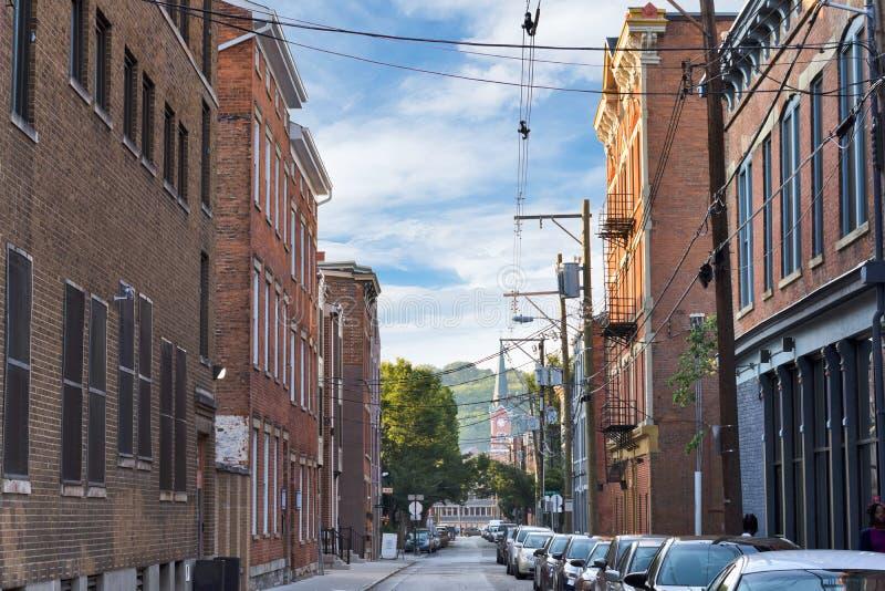 Sopra il distretto del Reno a Cincinnati del centro, l'Ohio nel lavaggio fotografie stock libere da diritti