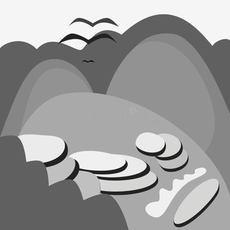 Sopra il paesaggio montagnoso che pilota tre condor royalty illustrazione gratis
