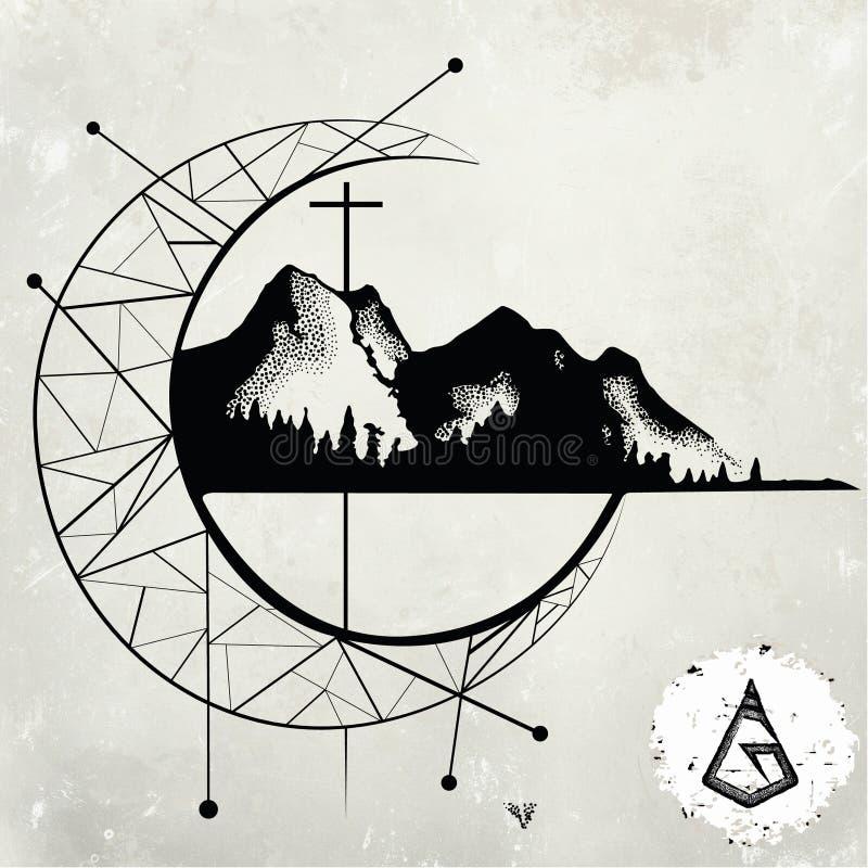 Sopra la montagna illustrazione di stock