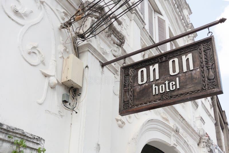 Sopra sull'hotel nella vecchia città di Phuket, Tailandia come utilizzato nel film la spiaggia immagine stock