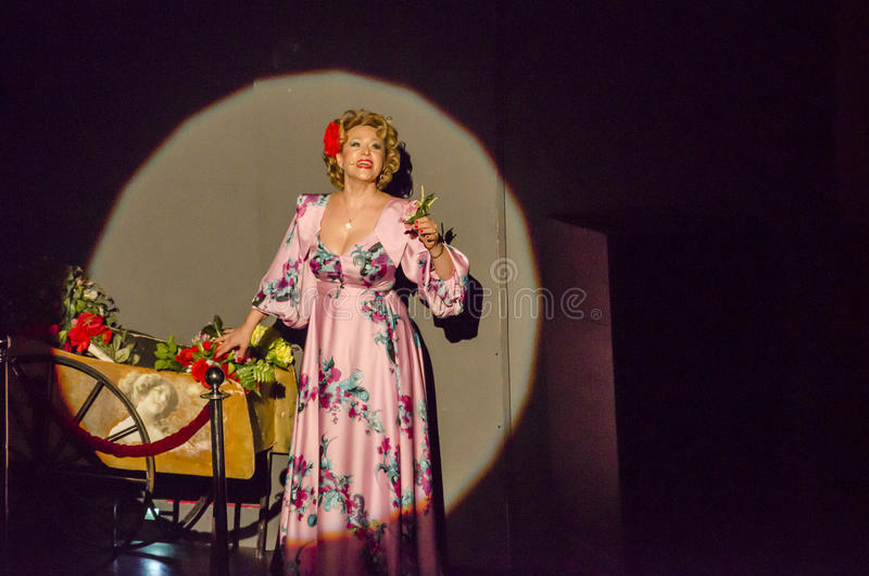 Soprano on stage. Famous soprano Bianca Ionescu performing on stage for the 'Paris, mon amour' show, Bucharest, Romania Photo taken on: November, 2015