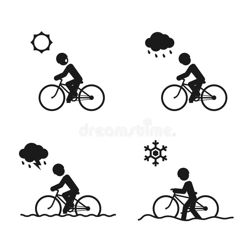 Sopravviva la progettazione fissata icone piovosa e dell'inverno dell'estate, di stagione della bicicletta dell'uomo dell'illustr illustrazione di stock