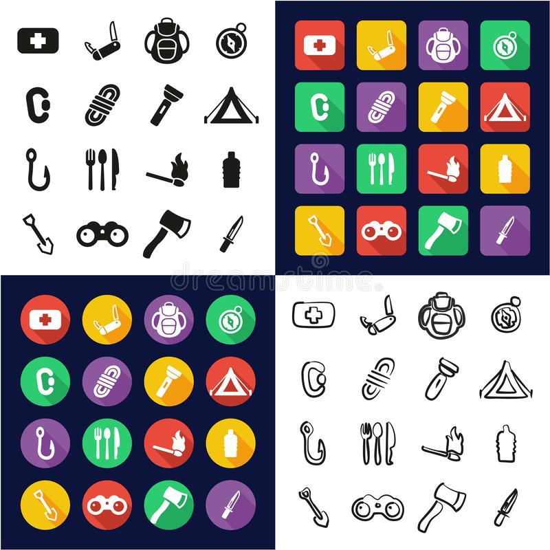 Sopravvivenza Kit All in un insieme a mano libera di progettazione piana bianca e nera di colore delle icone royalty illustrazione gratis